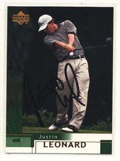 1d7dcc0ec JUSTIN LEONARD UD HAND SIGNED GOLF TRADING CARD JSA COA .  25.00. JUSTIN  LEONARD UPPER