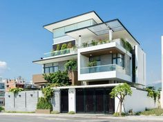 3 Storey House Design, Bungalow House Design, House Front Design, Modern House Design, Facade Design, Exterior Design, House Architecture Styles, Modern House Facades, House Design Pictures