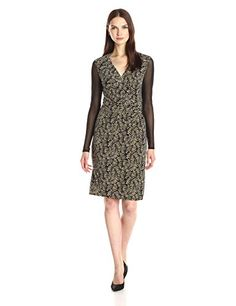 Anne Klein Womens Printed VNeck Side Drape with Hardware Dress Black Combo 10 *** To view further for this item, visit the image link. (This is an affiliate link and I receive a commission for the sales)