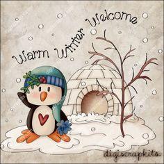 Penguin Winter Welcome 1 Clip Art Single