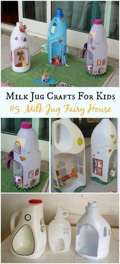 DIY Milk Jug Fairy House Instructions - Recycled Crafts Your Kids Can Do Recycled Milk Jug Crafts Your Kids Can Do: Milk Jug flower, lamp, costume, Art Supply organizer and more easy kids crafts to recycle plastic milk jug Recycled Crafts Kids, Recycled Art Projects, Easy Crafts For Kids, Craft Activities For Kids, Diy For Kids, Recycle Crafts, Recycled Bottle Crafts, Craft Ideas, How To Make A Fairy House Kids