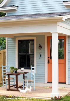 small space, porch, patio  for LM  love the blue with stained door...too daring I know
