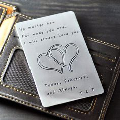Find More Business Cards Information about Alloy Wallet Insert Card any words available hand stamped gift  Gift for Father,Boyfriend,Husband gift for men,High Quality gifts boss,China gifts born Suppliers, Cheap gift box shaped cakes from Handmade Love Jewelry on Aliexpress.com