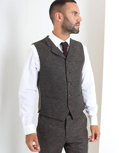 The taupe Donegal waistcoat has a 5 button fastening with sealed waist pockets, sealed welted pocket to the left chest and a notch lapel. Donegal, Taupe, Vest, Suits, Clothing, Jackets, Fashion, Beige, Outfits