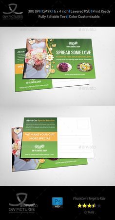 Flower Shop Postcard Template — Photoshop PSD #grass #forest • Available here → https://graphicriver.net/item/flower-shop-postcard-template/12871671?ref=pxcr