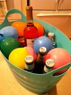 Frozen water ballons to keep drinks cold.