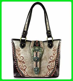 Montana West Concealed Carry, Golden Patina Western Tote w/ Coral Studs- Khaki - Totes (*Amazon Partner-Link)