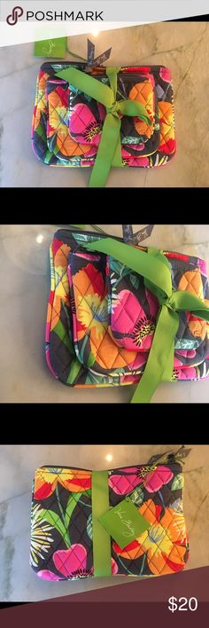 """Vera Bradley Jazzy Blooms Make Up Trio Brand new with tags. Triple the cosmetics, triple the organization .  This trio of cosmetic bags is a great gift set. Comes in a set of 3 sizes with wipeable linings. Even great for baby items. Plus a gift ready to go tied in grossgrain ribbon.   Small 5"""" x 4"""". Medium 7"""" x 5"""" & Large 9"""" x 6.5"""".   You can Machine wash Vera Bradley Makeup"""