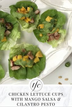 Chicken Lettuce Cups with Mango Salsa and Cilantro Pesto | Healthy Lunch Recipe | Healthy Appetizers |