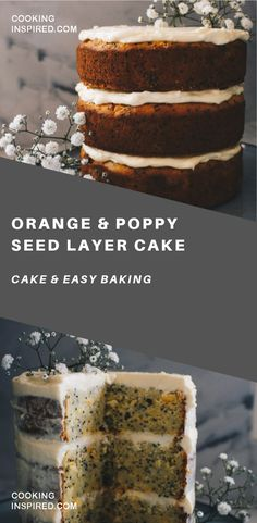 It's party time here, but probably not for what you're thinking… Three crazy good things have happened to me recently. The cause for party time and eating this Orange and Poppy Seed Layer Cake. Köstliche Desserts, Delicious Desserts, Dessert Recipes, Yummy Food, Healthy Cake Recipes, Baking Recipes, Cake With Cream Cheese, Almond Cakes, Recipes From Heaven