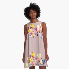 Purple Flowers, Wild Flowers, I Dress, Chiffon Tops, Classic T Shirts, Summer Dresses, Printed, Yellow, Awesome