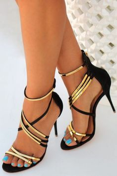 Gold and Black Classical Shoes High Heel Elegance Perfect For Any Occasion
