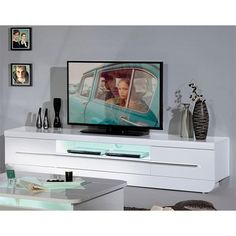 The Fiesta #TVstand will be a fashionable addition to your room. The #stand is available in white gloss shade and is equipped with built in #LEDlights.