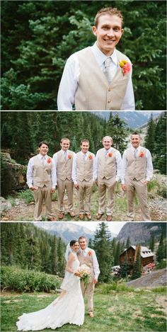 Tan and white groom and his men looks. Captured By: Ryan Price ---> http://www.weddingchicks.com/2014/06/02/no-cellphone-service-colorado-wedding/