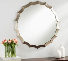 With its antique-silver finish, the Scalloped Mirror has a sophisticated presence. Cloud Craft, Wall Candle Holders, Sunburst Mirror, Entryway Furniture, Round Mirrors, Large Mirrors, Mirror Art, Custom Rugs, Decorative Pillows