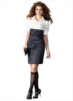 Vestido Bicolor com Cinto Preto/Branco - Posthaus