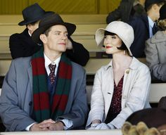 "Miss Fisher's Murder Mysteries follows the adventures of ""lady detective"" Phryne Fisher (Essie Davis, right) and her romantic interest/police partner Detective Inspector Jack Robinson (Nathan Page)."