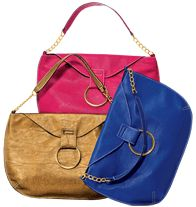 """Big Ring Handbag. Description  Leatherlike with goldtone hardware. Fully lined with two slip pockets. 10 1/2"""" H x 12 1/2"""" W; handle drop, 8"""" L. On sale $14.99."""