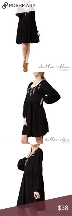 peasant boho embroidered long sleeve a-line dress Details coming soon... Check back on September 30th when this item will be available for sale! dottie + chloe Dresses Long Sleeve