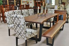 Live Edge Dining Table in Black Walnut with Fabric Parson's Chairs
