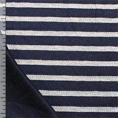 Deep Navy Tonal Stripe Two Sided Cotton Jersey Knit Fabric
