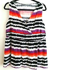 """Lane Bryant 18/20 Sleeveless Striped Top This Lane Bryant 18/20 Sleeveless Striped Top is gently used. No stains, no pilling. Soft fabric with some stretch. Fits true to size. Bust: 21.5"""" across laying flat, measured from pit to pit, so 43"""" around unstretched. 28"""" long. Small pinhole in fabric at back of neck. ::: Bundle 3+ items from my closet and save 30% off when you use the app's Bundle feature! ::: No trades. Lane Bryant Tops"""