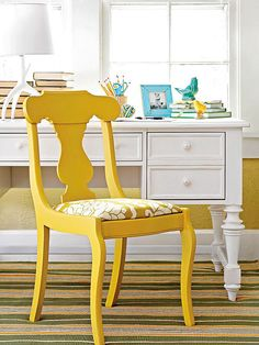 Furniture Project: Pretty Desk Chair Pull up a playful perch next to your desk with this easy chair makeover. This once dull chair was pepped up with a fresh coat of paint (see final slide: how to spray-paint a chair) and a seat cover fashioned from a pillow cover. To upholster the seat, remove the seat and ....