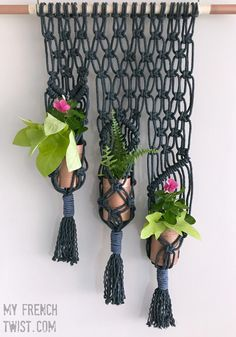This indigo macrame planter is not only lovely but functional. It's the perfect size for hanging on a door, too.
