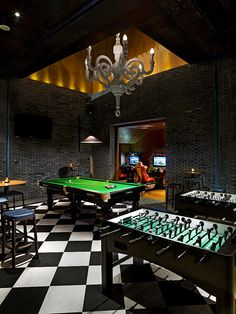Games Room: EAST, Beijing -You can find Beijing and more on our website. Game Room Decor, Room Setup, Arcade Game Room, Game Room Basement, Garage Game Rooms, Pool Table Room, Dream Mansion, At Home Movie Theater, Bar Games