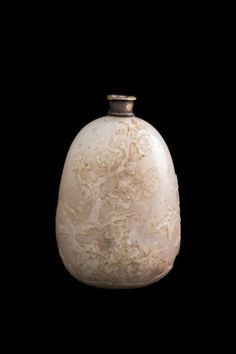 Handcrafted Chinese White Jade Snuff Bottle