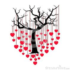 Tree with hearts. Red heart hangs on a tree branch on white background. Valentines day. Vector EPS10