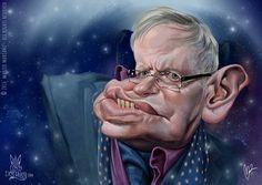El astrofísico-científico Stephen Hawking, caricaturizado por el artista Marzio Mariani.     Stephe...