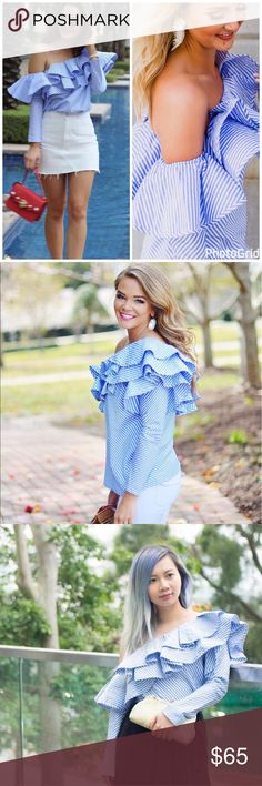 THE statement piece of Spring!😍 One-shoulder Ruffle Top. Worn by all the top fashion bloggers! Brand new, never worn. Took over a month for them to ship it to me and then it didn't work for me. Let me save you some time! My loss is your gain! Smoke free home🚭 I bundle🛍 Chicwish Tops Blouses