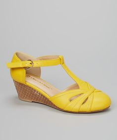 This Chase & Chloe Yellow Melissa T-Strap Wedge by Chase & Chloe is perfect! #zulilyfinds