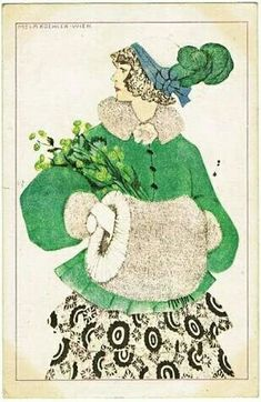 "heaveninawildflower: ""'Woman wearing a green jacket with green flowers' (circa Illustrated postcard by Mela Koehler Publisher Bruder Kohn Image and text courtesy MFA Boston. Klimt, Mode Vintage, Vintage Art, Vintage Postcards, Vintage Images, William Morris, Art Nouveau, Art Deco Illustration, Illustrations And Posters"