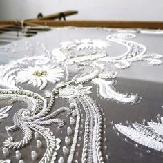 White and silver bridal swatch... #workinprogress #weddingdress #bridetobe #embellished #bridal #fashion #couture #tambour #beading #handembroidery #madetomeasure