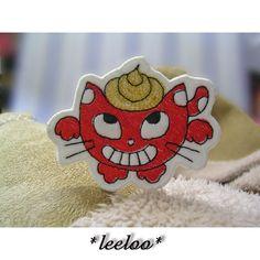 うんち猫★刺繍ワッペン_かわいい布地をアップリケ♪