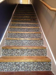 Such a cute use of mosaic tiles on stair risers. Stairs And Staircase, Staircase Remodel, Stair Risers, Staircase Design, Metal Barn Homes, Metal Building Homes, Pole Barn Homes, Stair Slide, Tile Steps