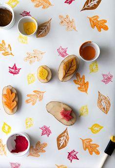 DIY: leaf potato stamping