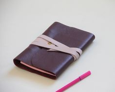Purple leather notebook A6 with strap