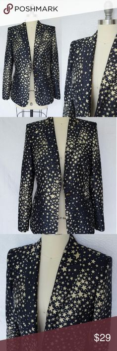 Basler metallic stars nautical suit blazer 38 US 6 Crazy Cool Basler Blazer. Stunning metallic gold star print on a Navy field. Super sexy tailored silhouette. Single star button closure with button cuffs. Fully lined. Great pre-owned condition with no noted flaws  Marked size 38 us 6 Basler Jackets & Coats Blazers