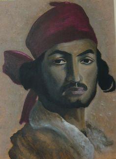 created by: Szöllős Éva - acrylic, 30x40 cm wallboard.  (Original painting:  Henri Régnault - Portrait of gypsy Art Experience NYC www.artexperience.)