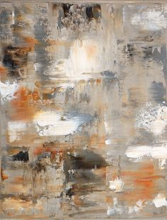 Acryiic Abstract Art Painting Grey, Brown, Beige and White - Modern, Contemporary, Original 11 x 14