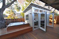 Studio Shed Music Studio & Home Office modern-prefab-studios Hot Tub Backyard, Backyard Office, Backyard Studio, Backyard Sheds, Outdoor Sheds, Backyard Retreat, Garden Office, Outdoor Office, Garden Sheds