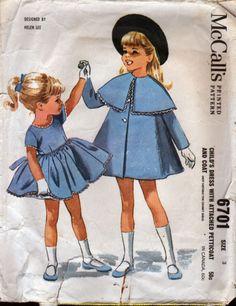 Vintage 1962 McCall's Sewing PATTERN - HELEN LEE DESIGN - Dress & Coat - SIZE 3