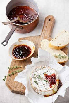 Baked camembert with fig chutney.