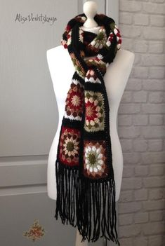 Long warm scarves Colorful knitted scarf Granny square Soft yarn Crocheted for girlfriend Gift for stylish mother Boho Crochet Black scarf Point Granny Au Crochet, Poncho Crochet, Crochet Jacket, Crochet Scarves, Crochet Yarn, Crochet Clothes, Crochet Gifts, Mode Mantel, Crochet Accessories