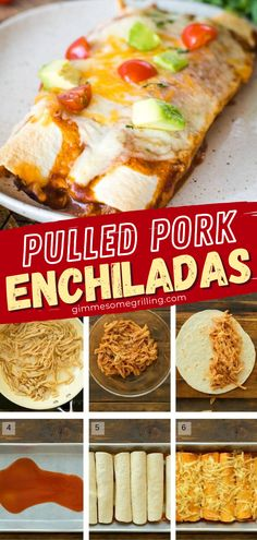 Got some leftover pulled pork? This main dish recipe is the perfect way to use it up! The whole family will love this quick and easy meal of soft tortillas filled with pulled pork, cheese, and a topping of enchilada sauce and more cheese. Try this dinner idea for tonight! Easy Main Dish Recipes, Easy Homemade Recipes, Yummy Recipes, Cheap Recipes, Pulled Pork Enchiladas, Fall Dinner Recipes, Dinner Ideas, Quick Easy Meals, It's Easy