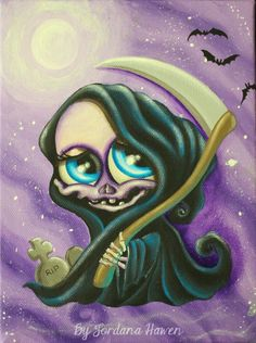 Cute reaper death painting spooky art