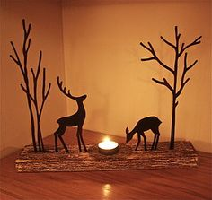Christmas Reindeer Tealight Decoration - christmas home decorations